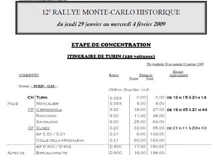 12. Rallye Monte-Carlo Historique: Vorgaben für die Verbindungsetappen - Michelin-Karten als Muß