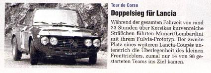 Tour de Corse: Doppelsieg für Lancia