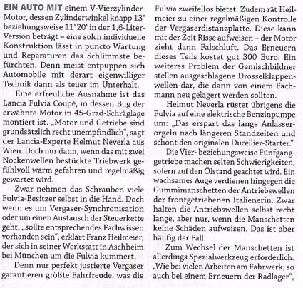 Fulvia-Berichte: Zeitungsartikel