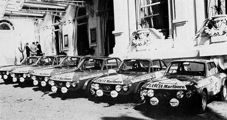 Lancia Fulvia: San Remo 1973 - mit Marlboro (endlich) einen  Langzeitsponsor gewonnen (Foto Graham Robson, History of Rallying, 1981)