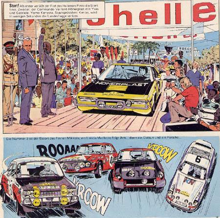 Der Comic-Held Michel Vaillant: Fast eine (heute verbotene) Marlboro-Werbung der Startnummer 4