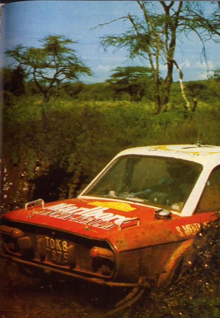 """Der Comic-Held Michel Vaillant: Shekar Mehta/Mike Doughty auf dem Weg zum 11. Platz (Fotos aus Herbert Völkers """"Stories aus dem Rallyesport 1974, Orac Verlag, Seite 76)"""