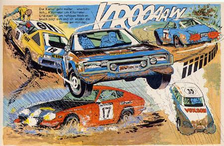 Der Comic-Held Michel Vaillant: Die Creme der Rallyefahrzeuge als Gegner von Michel Vaillant