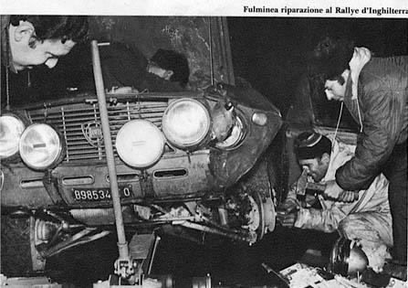 """RAC Rallye 1970 - 2. Sieg für Källström/Haggbom mit Unterstützung von C. Fiorio """"abwärts"""". Aber auch letzter Einsatz dieser Fulvia!"""
