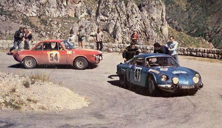 """Coupe des Alpes: 1968 - Trautmann/Trautmann - """"umschiffen"""" die Alpine von J.P. Nicolas"""