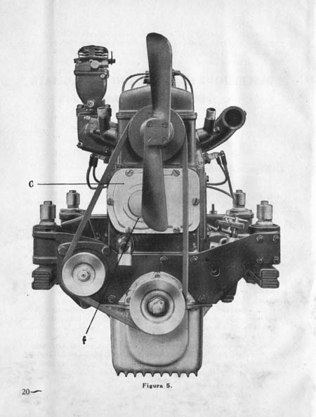 Lancia Artena: Front view of the Artena engine, showing its unique engine mountings