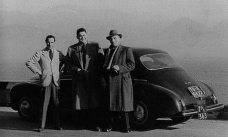Lancia and De Virgilio: De Virgilio, Gianni Lancia, Prof. Jano vor einer Aprilia Bilux 1948