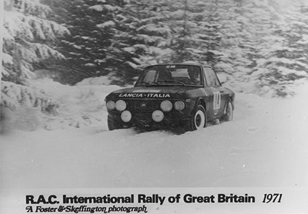 Lancia Fulvia im Schnee - R.A.C. International Rally of Great Britain 1971