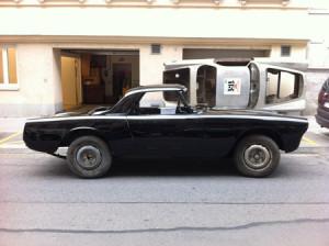 Lancia Flaminia Restaurierung: Lackierte Karosserie von der Seite