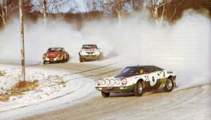 Björn Waldegǻrds 1. Start für Lancia = 1. Sieg in Schweden 1975