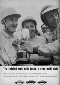 Lancia Werbung 1965: C. Maglioli - Claudine Bouchet - Leo Cella