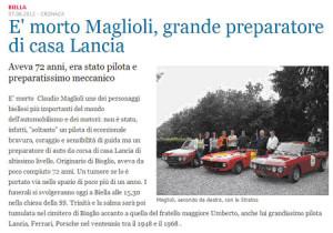 Nachruf Claudio Maglioli in Italien