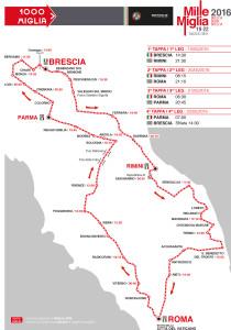 Mille Miglia 2016 - die Strecke, etwas abweichend von den Vorjahren