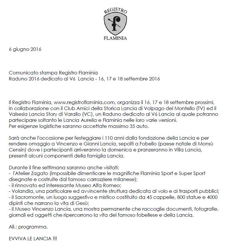 Raduno 2016 dedicato al V6 Lancia - Einladung Seite 1