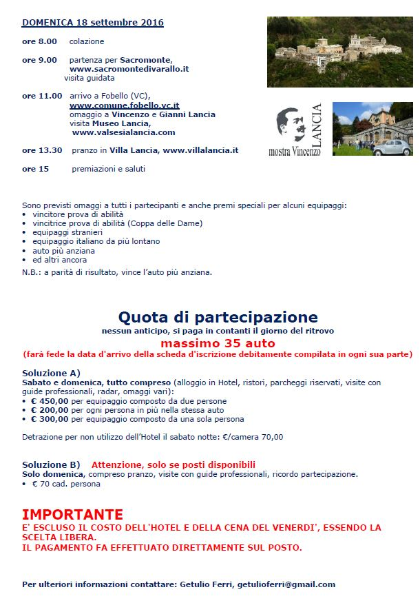 Raduno 2016 dedicato al V6 Lancia - Einladung Seite 3