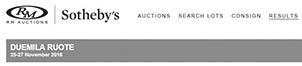 Ergebnisse Auktion RM/Sotheby – DUEMILA RUOTE November 2016