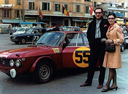 Arnaldo Cavallari mit seiner Frau - Rallye dei Fiori 1966