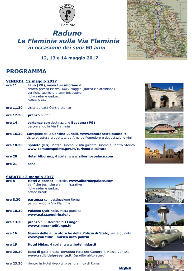 Programma prima Lancia Flaminia 2017
