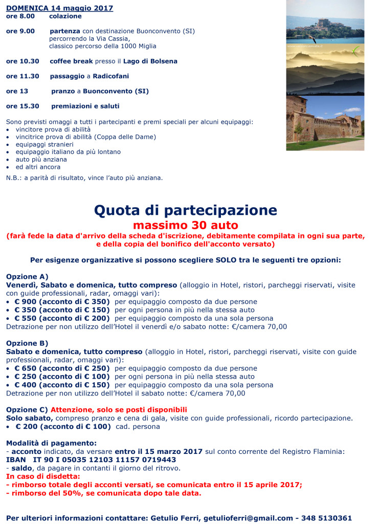 Programma seconda pagina con € Raduno Lancia Flaminia 2017