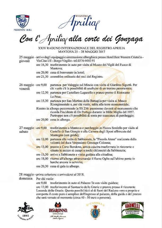 Programm des Radunos 2017 - Registro Aprilia