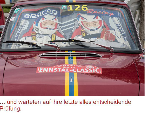 Ennstal Classic 2017 - Helmut Neverlas vielbeachteter Sonnenschutz
